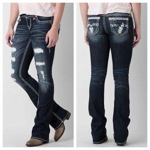 Rock Revival Jovie Distressed Bootcut Jeans Sz 26